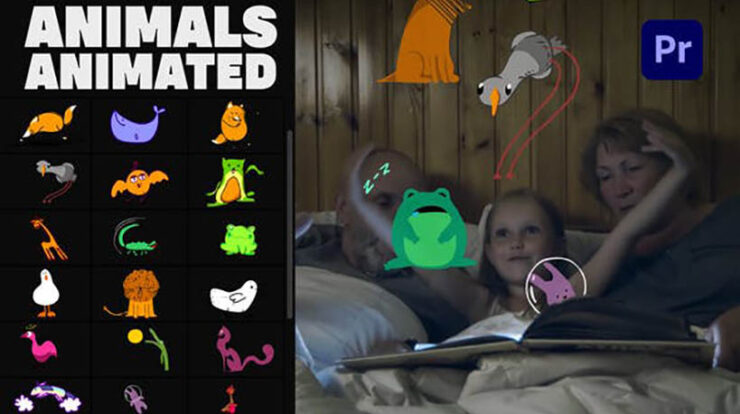 Animals Animated Stickers Pack Premiere Pro MOGRT